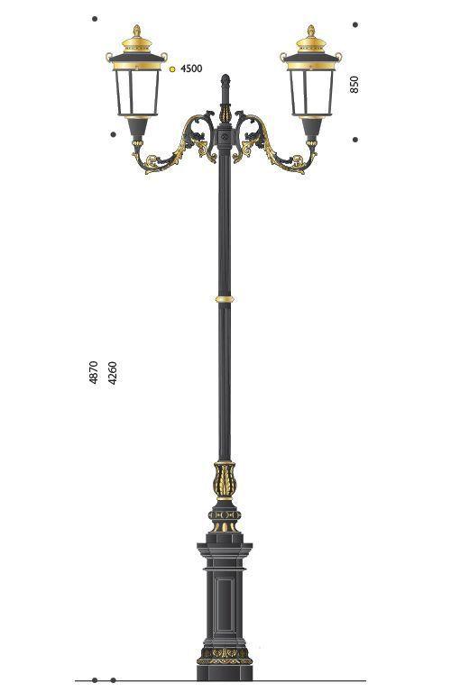 Palo artistico in ghisa tipo Francia con base 130 e lanterna LED 620