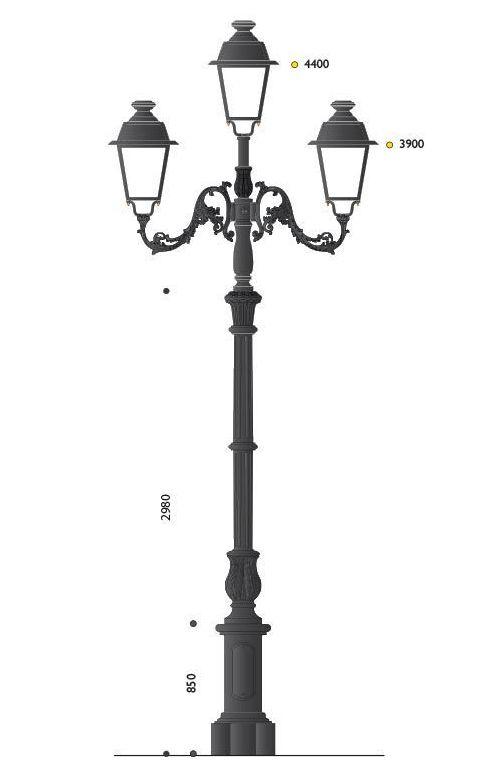 Palo in ghisa grandissimo con tre bracci e tre lanterne cablate LED SA12.P , 42,8W 3702 LUMEN 3000K , OTTICA ASIMMETRICA
