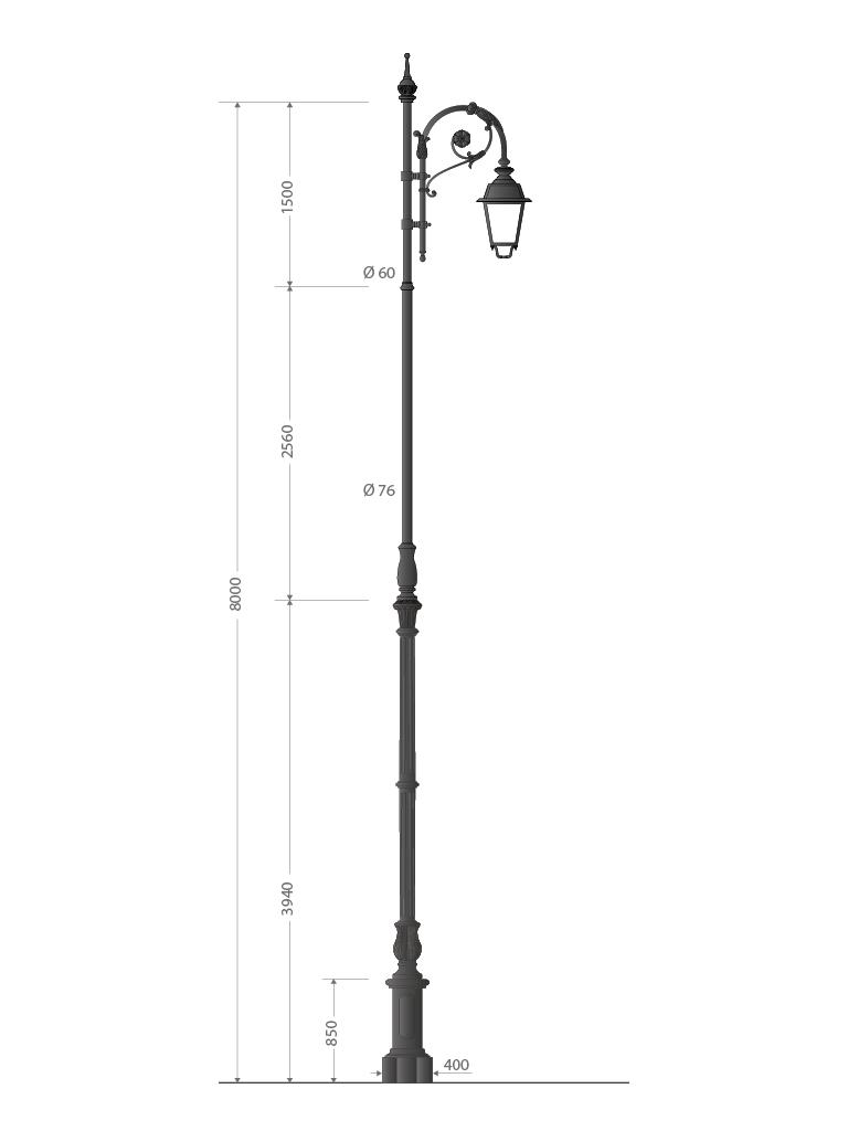 Palo in ghisa grandissimo con base tipo 090 e finale a pastorale Bernini, altezza totale 8 metri
