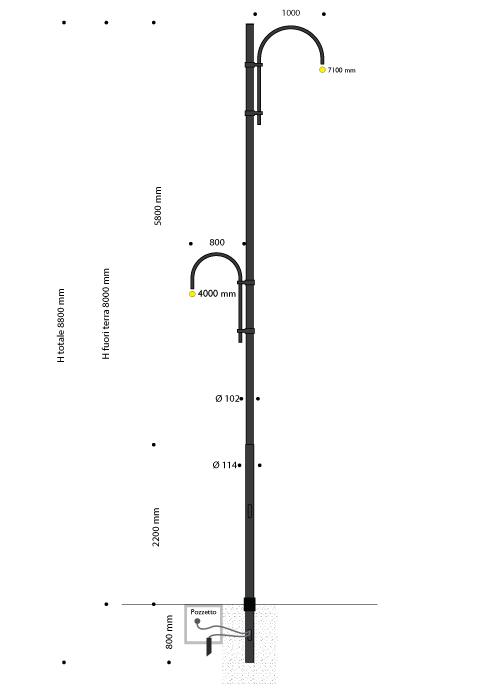 Palo serie linear in acciaio con pastorali 505 sfalsati, predisposto per due lanterne 640 LED