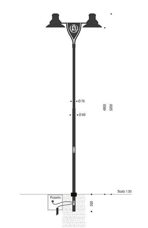 Palo per TpLuna TPLX5 con lampare Regina