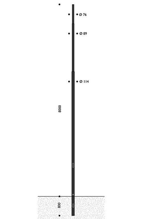 Palo rastremato in acciaio, HFT 8 metri