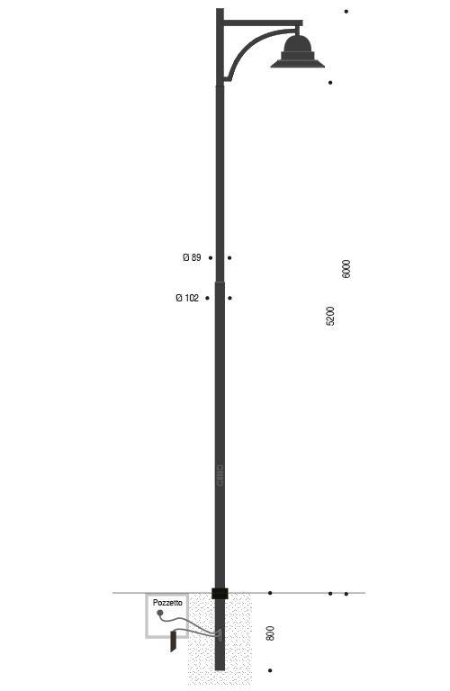 Palo INNER in acciaio con braccio singolo e lampara Signora