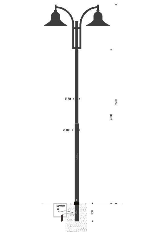 Palo INNER in acciaio con braccio doppio curvato e lampare 630