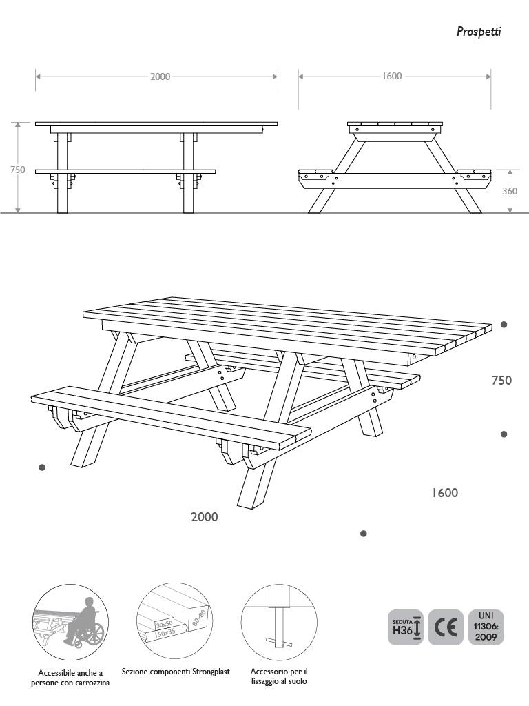 Prospetti e vista 3D panca picnic accessibile in Strongplast