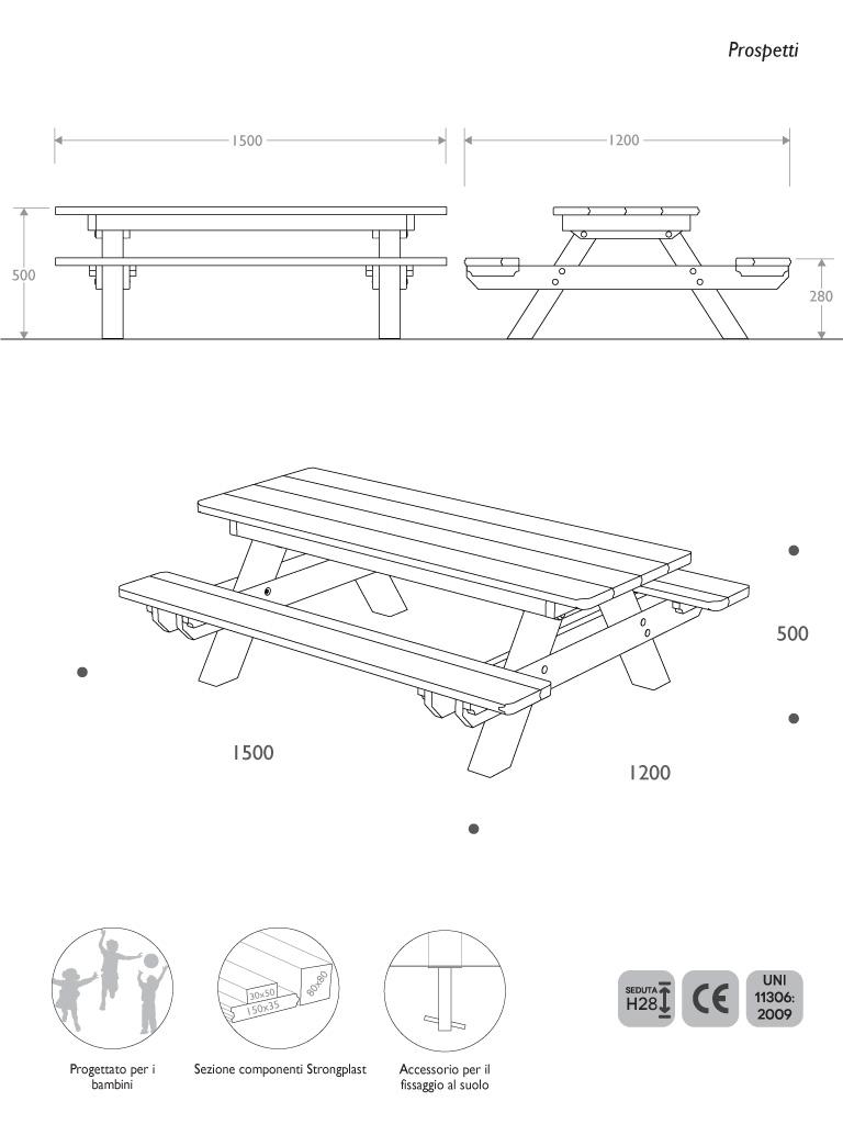 Prospetti e vista 3D panca picnic baby in Strongplast