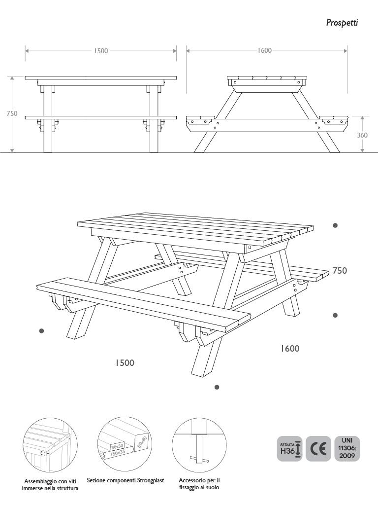 Prospetti e vista 3D panca picnic standard in Strongplast