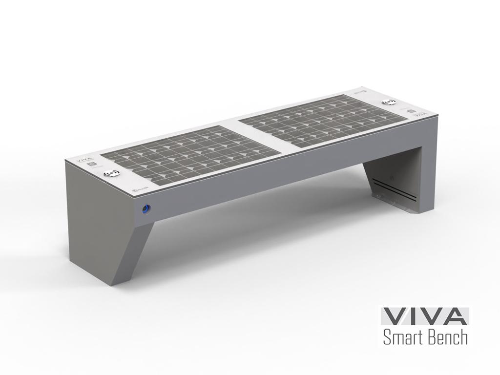Panchina VIVA smart con modulo fotovoltaico e ricarica wireless illuminazione LED