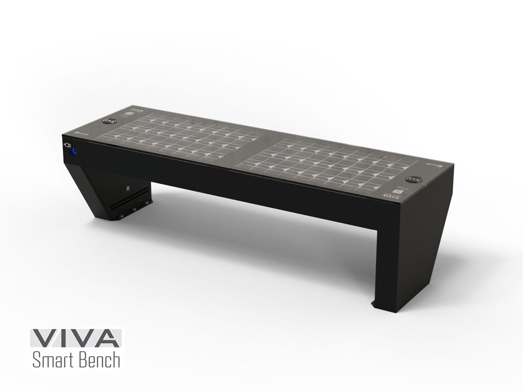Smart VIVA FULL Intelligent Solar Powered Bench Charging IOT ready, seat and backrest in recycled plastic 2,1m , WIRELESS recharge devices, USB, LED lighting