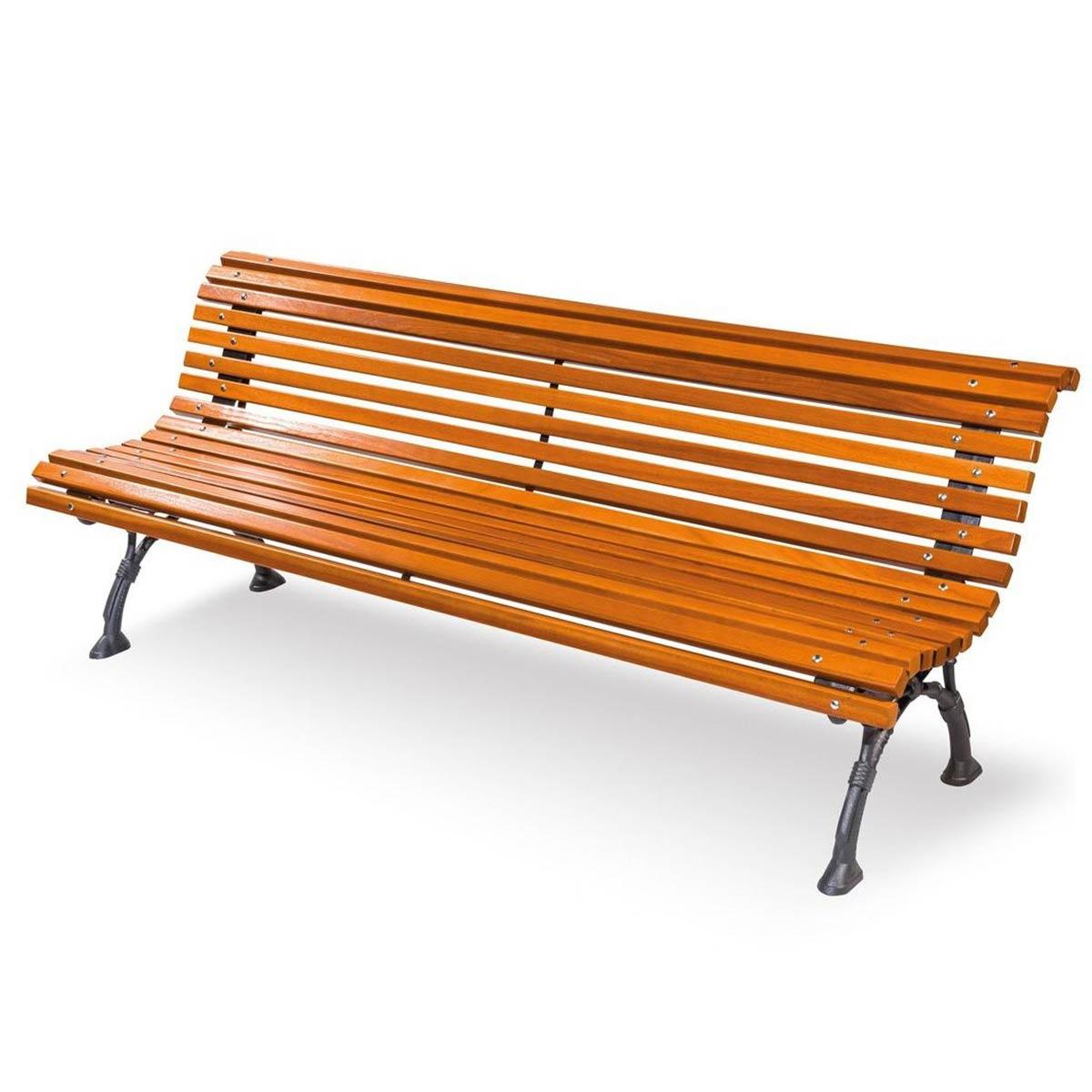 Panchina Napoli con listoni in legno esotico color noce fornita montata