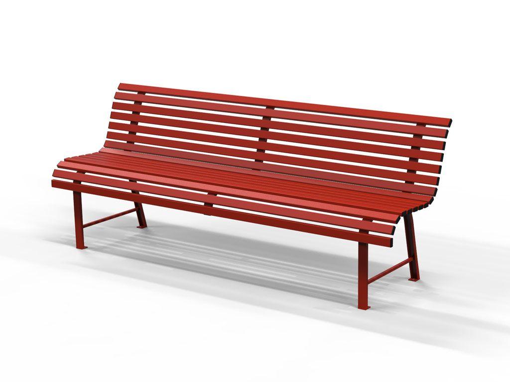 Panchina MILANO in acciaio colore rosso lunghezza 2 metri