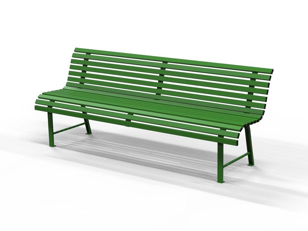 Panchina MILANO con listoni in acciaio nero e verde