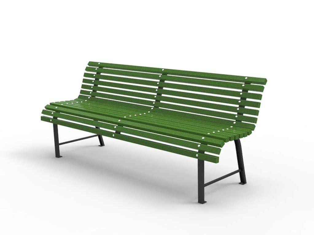 Panchina In Plastica Verde.Panchina Milano Con Listoni In Legno Verde Supporti Nero