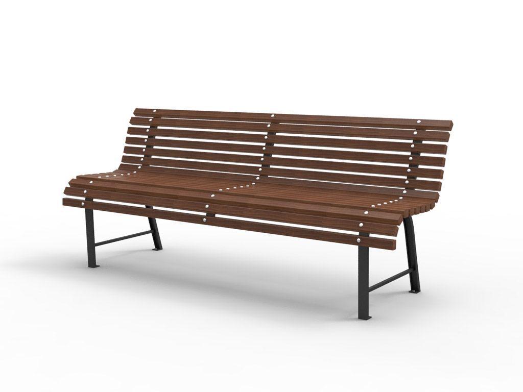 Panchina MILANO con listoni in legno noce scuro