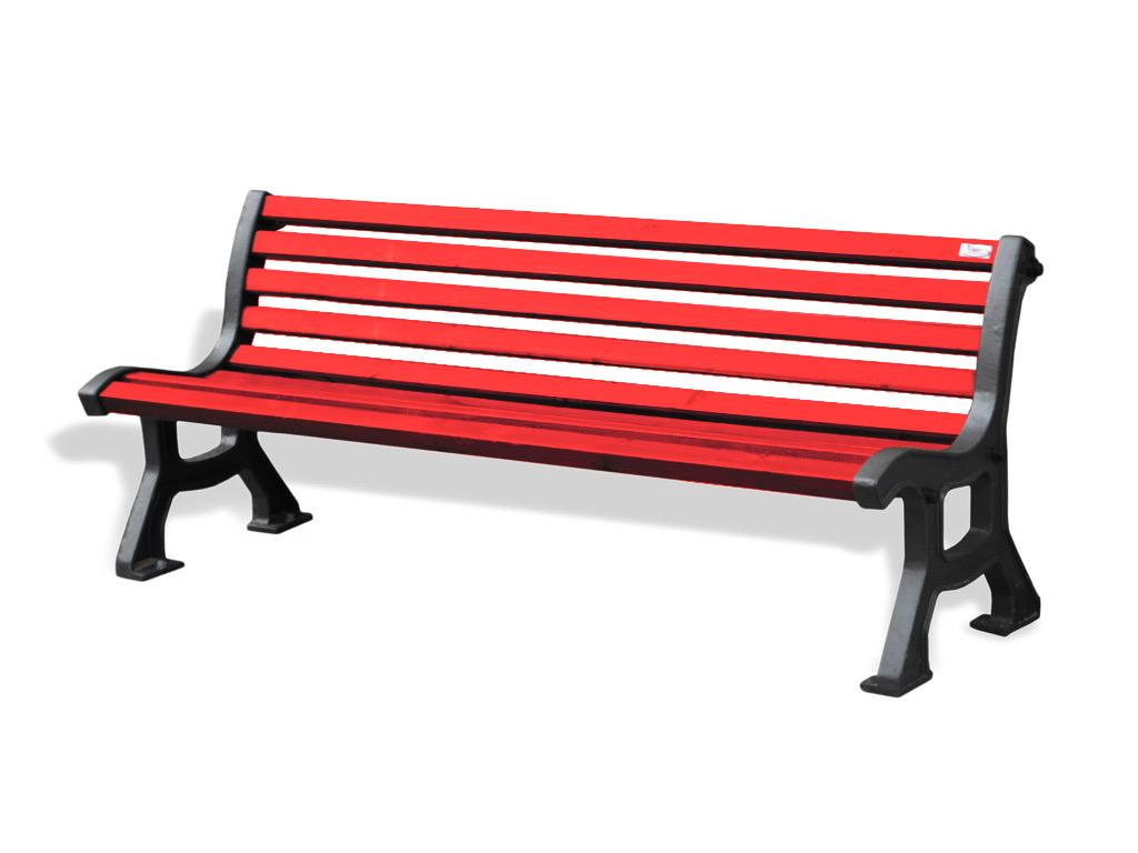 Panchina ITALIA con legno di Pino colore ROSSO fornita montata