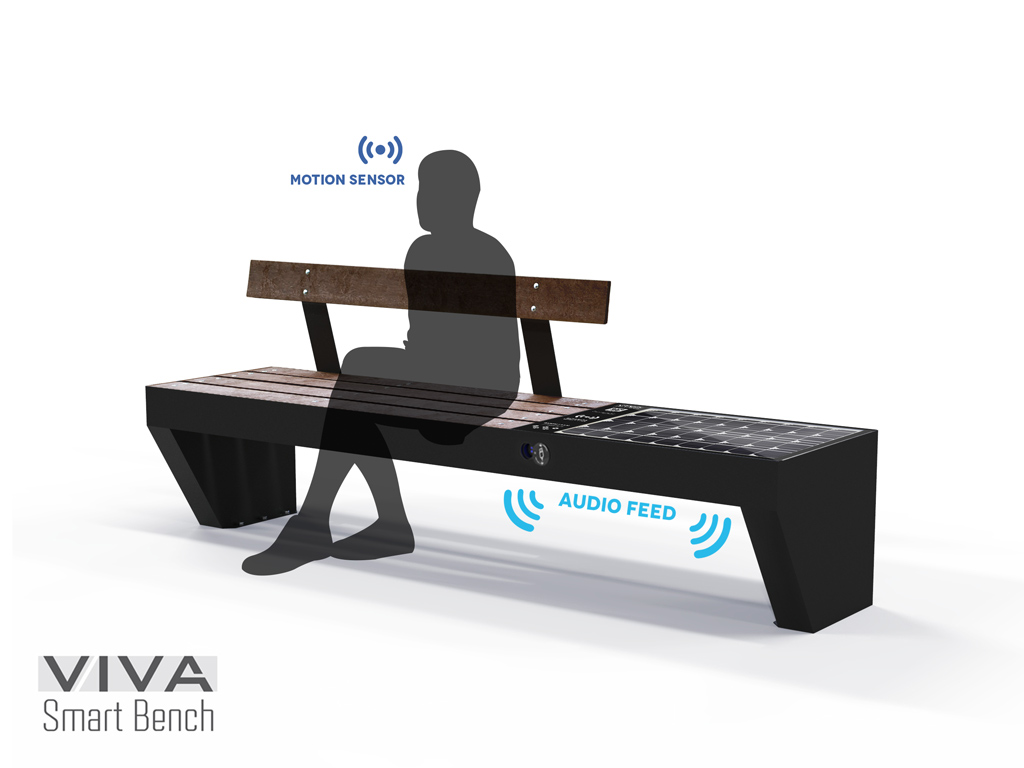 Smart bench VIVA AUDIO with Solar Energy, Intelligent recharge IOT ready, seat and backrest in recycled plastic 2.1 mt recharges, WIRELESS devices USB, LED lighting and AUDIO INTERACTION SYSTEM