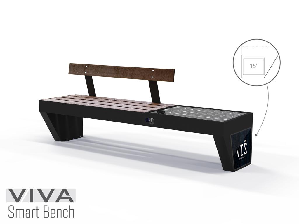 Panchina Smart VIVA™ HYBRID+ PORTAL VIS ad Energia Solare Ricarica Intelligente IOT ready con doghe in plastica riciclata lunghezza 2,1 mt ricarica dispositivi WIRELESS e USB, retroilluminazione LED, alimentazione da pannello fotovoltaico