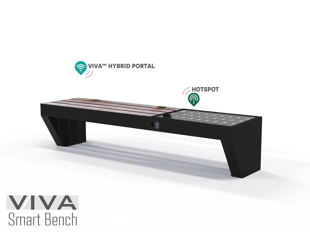 Smart bench VIVA HOTSPOT with Solar Energy Intelligent recharge IOT ready, seat and backrest in recycled plastic 2.1 mt, recharging WIRELESS devices USB, LED lighting, INTERNET HOTSPOT