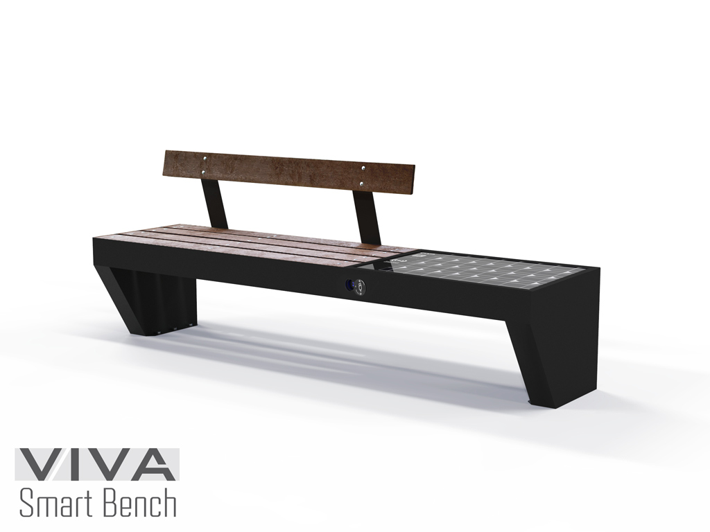 cod. 311301 - VIVA Smart Bench Solar Energy Charge IOT ready with recicled plastic seat profile total weight 2,1 meter equiped wit WIRELESS and USB charge With LED lighting all solar powered