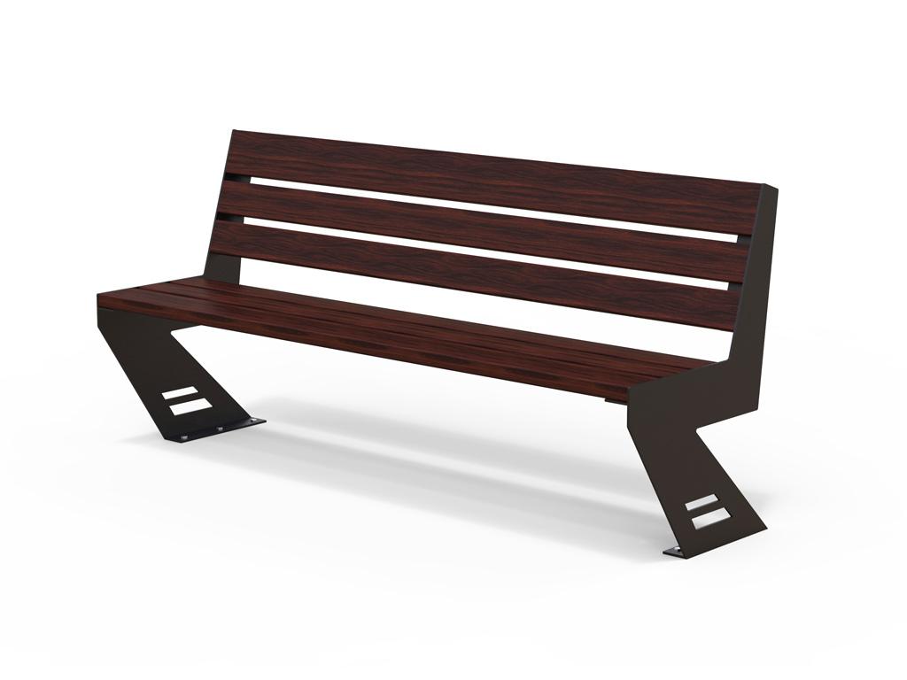 Panchina tipo Zena con struttura in acciaio e listoni in legno Pino