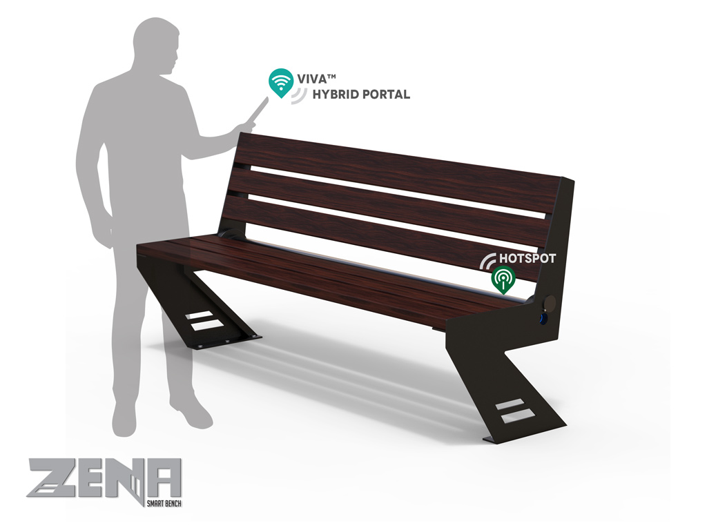 Panchina ZENA SMART PORTAL in acciaio e listoni in legno esotico lunghezza 1,7 mt, alimentazione da rete elettrica, ricarica USB e WIRELESS, retroilluminazione LED RGBW , sensori ambientali , WIFI HOT SPOT .