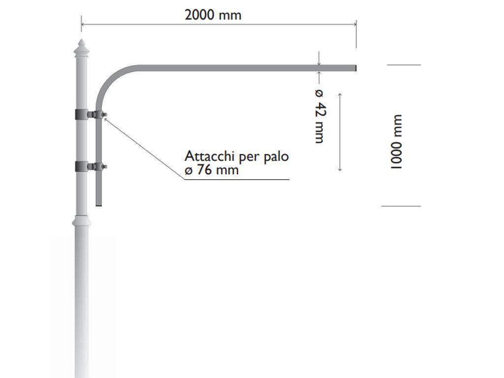 Pastorale in acciaio e ghisa (o alluminio) per palo per telecamera di videosorveglianza