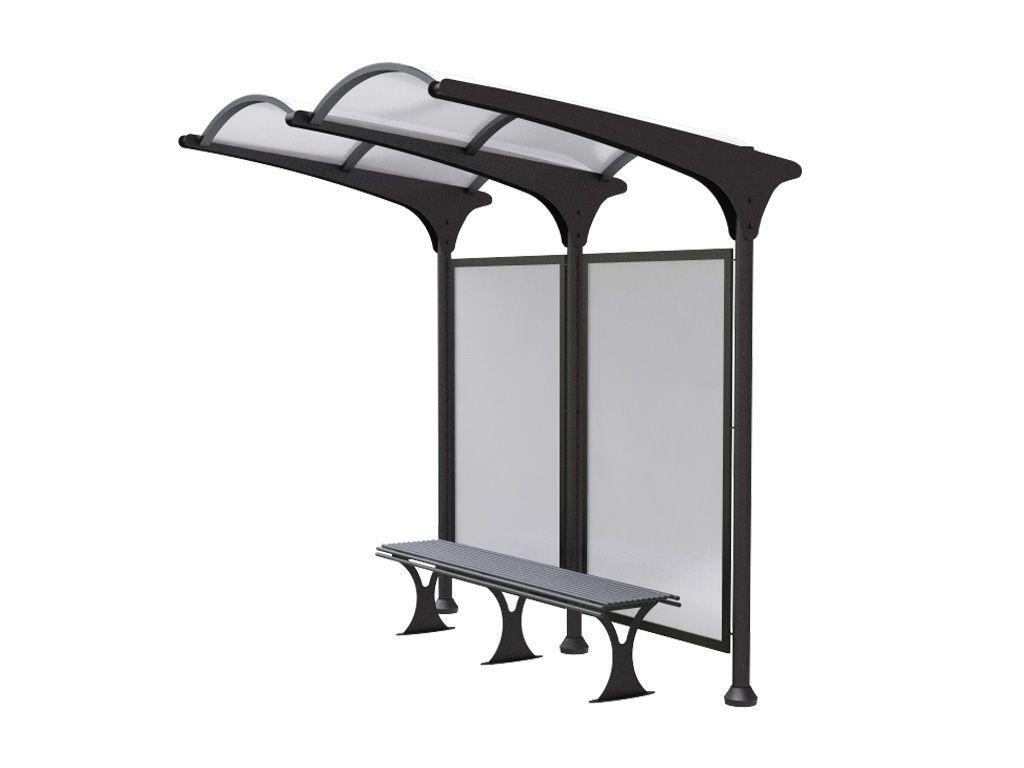 Pensilina Moderna per attesa bus con panchina in acciaio e policarbonato