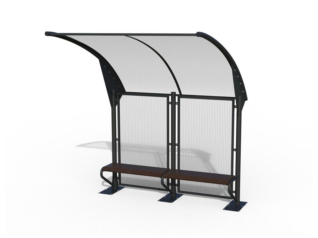 Pensilina moderna per attesa autobus con panchina