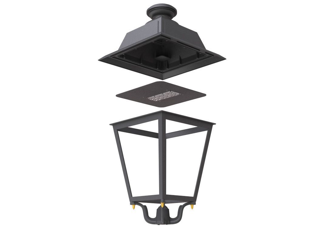 Artistic die-cast Aluminium Lantern with E-Light LED 48W - 7779lm - 3k - Rotosymmetric Optic