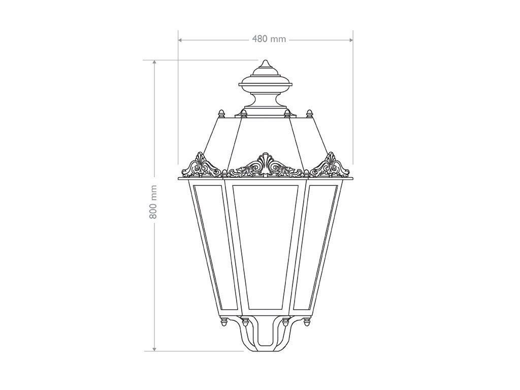 Big hexagonal lantern with decoration