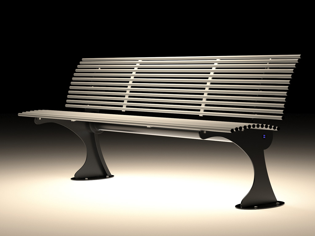 Smart bench made in iron total width 2 meter wiring 220v , USB charge , LED lighting