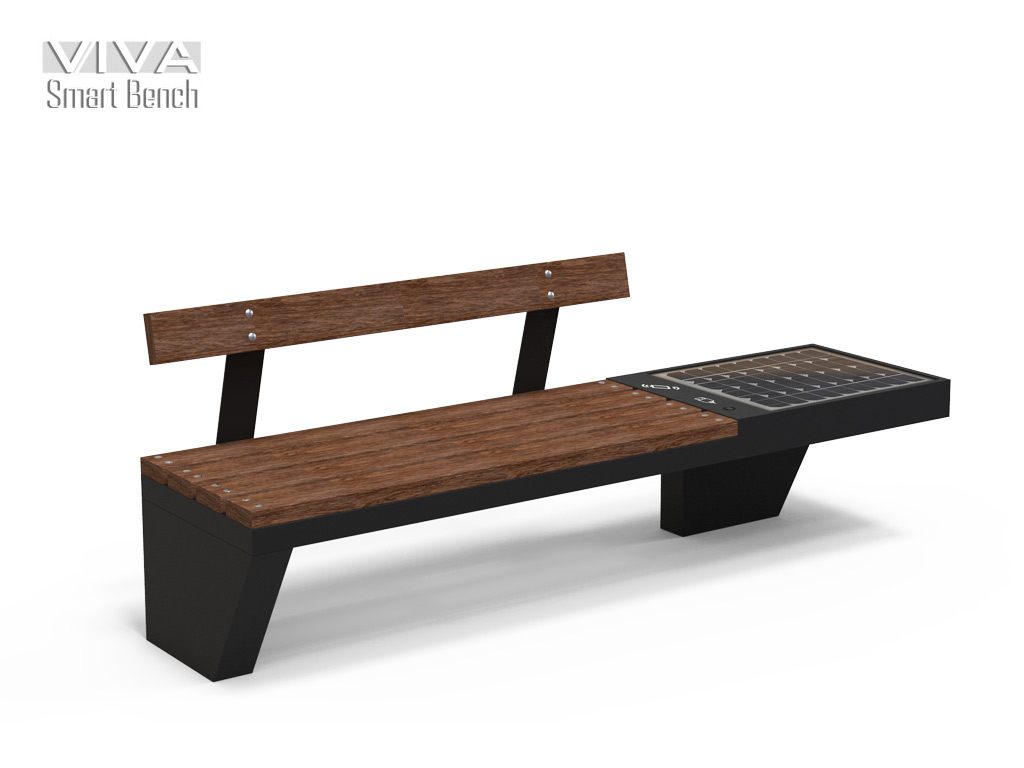 VIVA Smart Bench Solar Energy Charge IOT ready with recicled plastic seat profile total weight 2,1 meter equiped wit WIRELESS and USB charge With LED lighting all solar powered