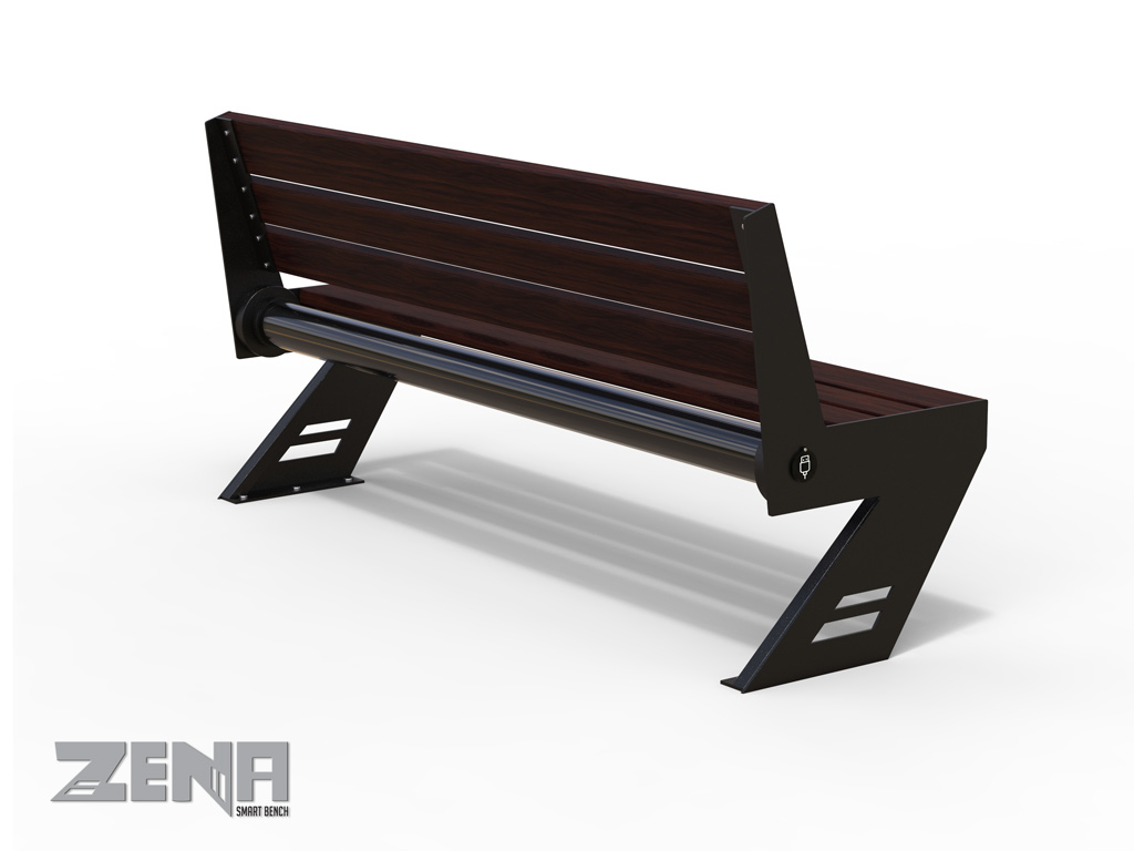 ZENA SMART bench in steel and exotic wood planks, length 1.7 meters, electric mains-operated, USB charging, LED backlight