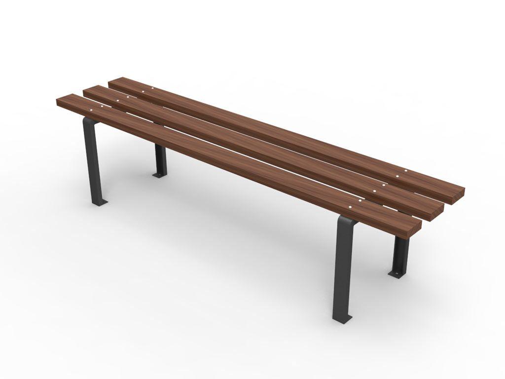 Panchina valencia senza schienale con listoni in legno for Arredo urbano legno
