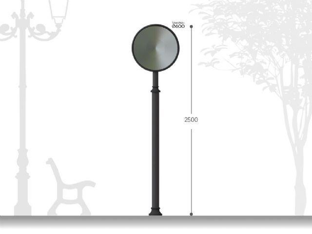 Palo Per Specchio Parabolico Artistico In Acciaio H 2500
