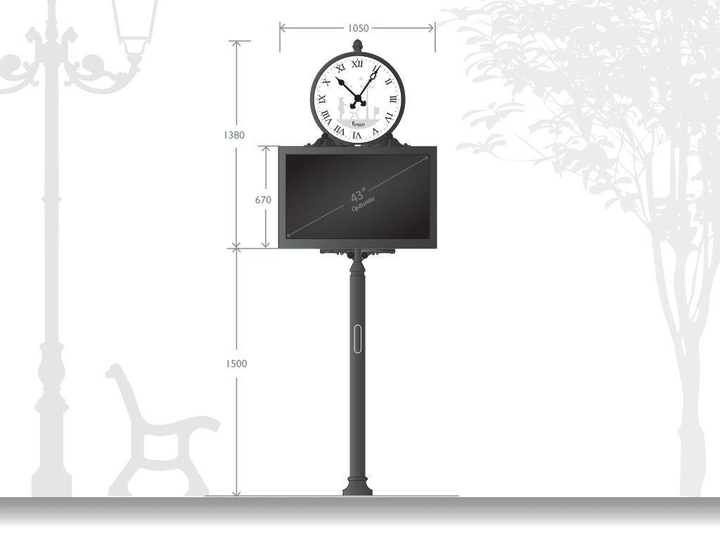 Struttura Urban Digital Signage Clock uni facciale