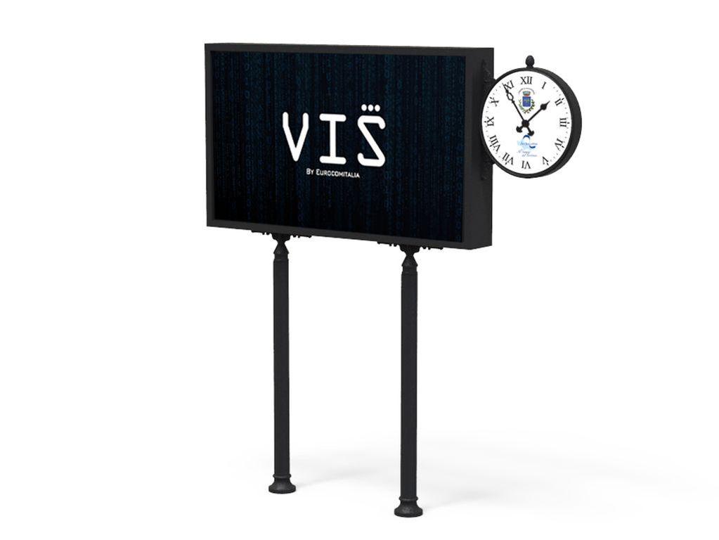 Urban Digital Signage Clock con display da 86 ed ornamenti in acciaio e ghisa, monitor LFD alta luminosità comandati da sistema cloud