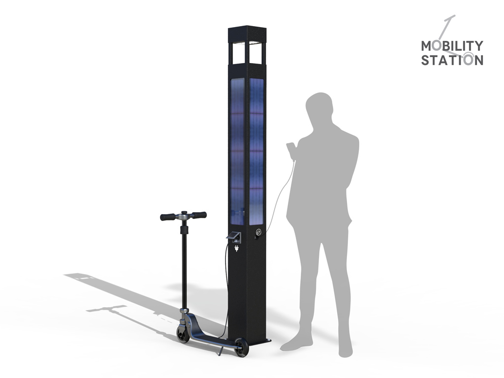 Urban mobility Station - Charging station for electric scooters powered by photovoltaic panels with USB sockets and LED lighting
